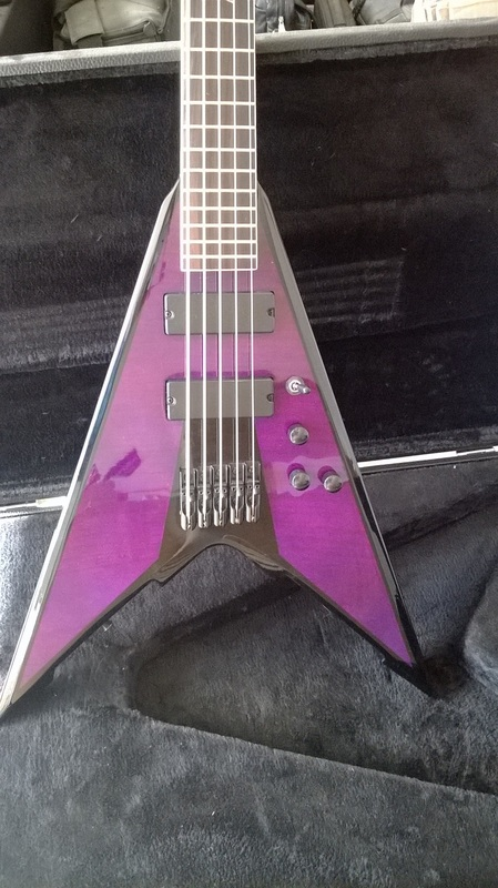Custom V Bass Guitar: 5-string Fireplant WMD-V Bass in see-thru purple